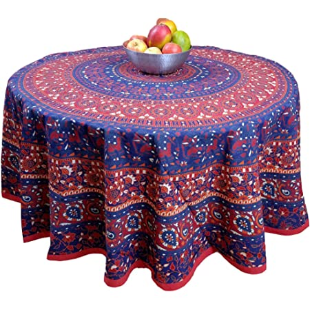 Handmade 100/% Cotton Blooming Floral 81 inches Round Tablecloth Beige Blue