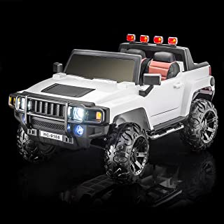 SUPERtrax Warrior Kid's Ride On Battery Powered Vehicle - Functional Doors, Shock Absorbers, Electronic Steering Assist, EVA Foam Rubber Tires, Remote Control, Free MP3 Player - Frost White