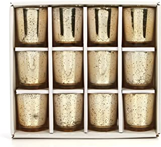 Hosley's Set of 12 Mercury Glass Speckled Gold Finish Votive / Tea Light Holder 3 High Each. Ideal Gift and Use for Weddin...