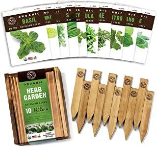 Herb Garden Seeds for Planting - 10 Culinary Herb Seed Packets Kit, Non GMO Heirloom Seeds, Plant Markers, Wood Gift Box -...