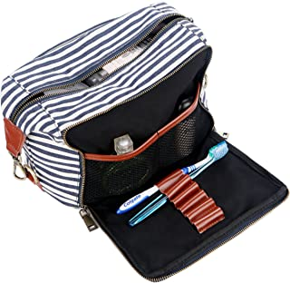 BAOSHA XS-04 Canvas Travel Toiletry Bag Shaving Dopp Case Kit for Women and ladies (Blue)
