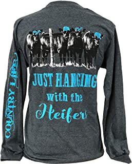 Country Life Hanging with The Heifers Heather Gray Women's Long Sleeve Shirt