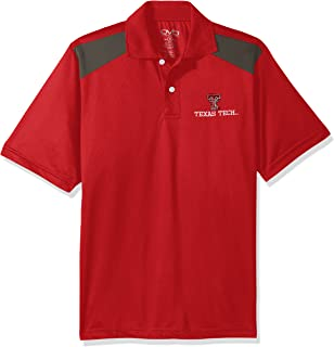 Men's NCAA Pieced Poly Polo, Red/Charcoal, Large