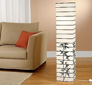Trango 1212L Lampadaire design *JAPAN* lampe en papier de riz *HANDMADE* en angulaire blanc avec bâtons décoratifs et moti...