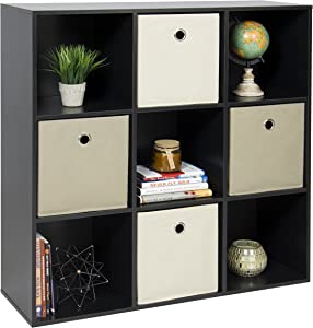 Best Choice Products 9-Cube Stackable Bookshelf Display Storage System Compartment Organizer w/ 3 Removable Back Panels, Black