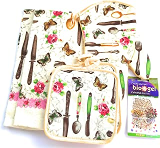 American Mills Butterflies, Table Ware Themed Kitchen Towel Set (Includes: 1 Oven Mitt, 2 Pot Holders and 2 Dish Towels).