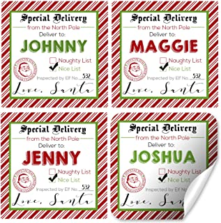Custom and Personalized Santa's Special Delivery Gift Tag Stickers, Set of 12 2.5 X 2.5 Square Labels from Santa for Christmas Gifts by AmandaCreation