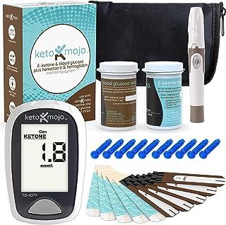 KETO-MOJO Blood Ketone and Glucose Testing Kit, Monitor Your Ketogenic Diet, 1 Meter, 1 Lancing Device, 10 Lancets, 10 Ketone Test Strips, 10 Glucose Test Strips, Carrying Case