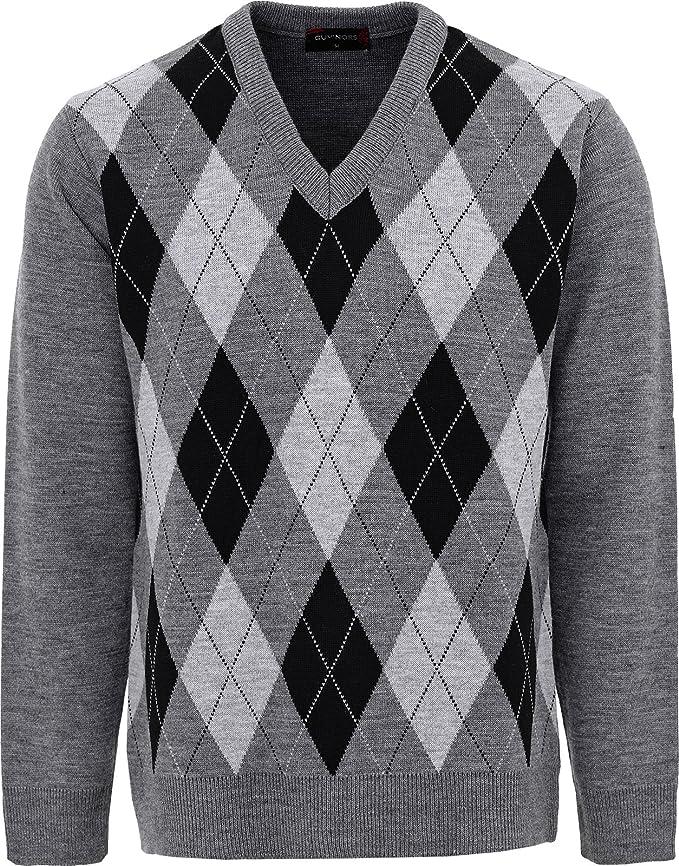 Maan Store Jersey de punto clásico con cuello en V para hombre con estampado de diamantes de manga larga