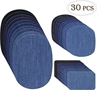 Outuxed 30pcs Iron on Denim Patches Fabric Patches for Clothing Jeans, Iron on Repair Kit, 5 Colors, 3 Sizes(4.9x6.9 Inches, 3.7x4.1 Inches, 2x3 Inches)