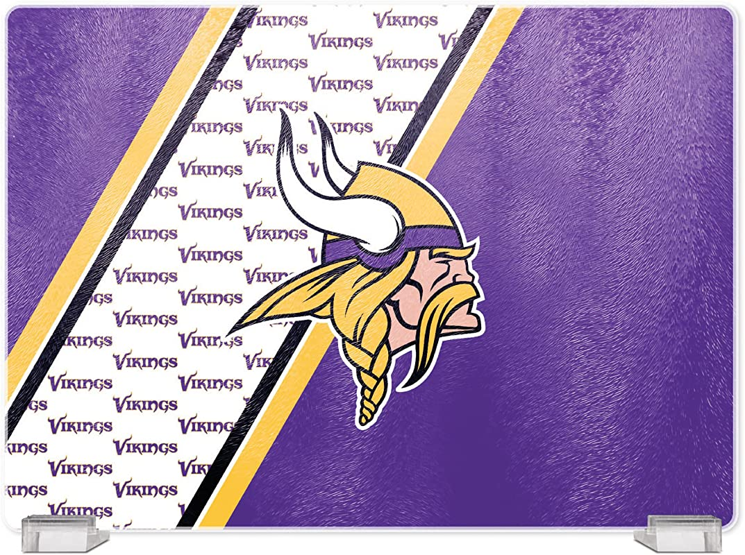 NFL Minnesota Vikings Tempered Glass Cutting Board With Display Stand