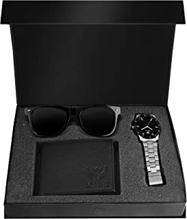 Lorenz Combo of Black Watch, Wallet and Black Sunglasses for Men