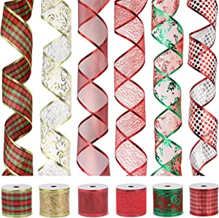 VATIN Christmas Ribbon,Wired Holiday Party Ribbons Assorted Plaid Dot Holly Patterns Decorations, Swirl Sheer Glitter Ribbon 36 Yards (2.5
