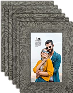 Langdon House 4x6 Picture Frames (Gray Wave, 6 Pack) Wood Grain Style, Wall Mount or Table Top, Richland Collection Set of 6