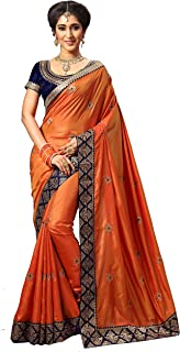 Women's Silk Embroidery Work With Diamond's Material Saree