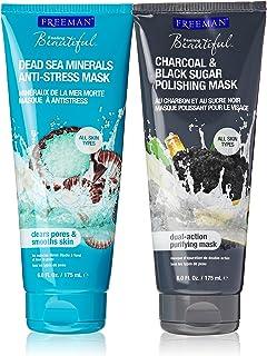 Freeman Mask Bundle: One Dead Sea Minerals Anti-Stress Mask (6 Oz.) and One Charcoal & Black Sugar Polishing Mask (6 Oz.) ...