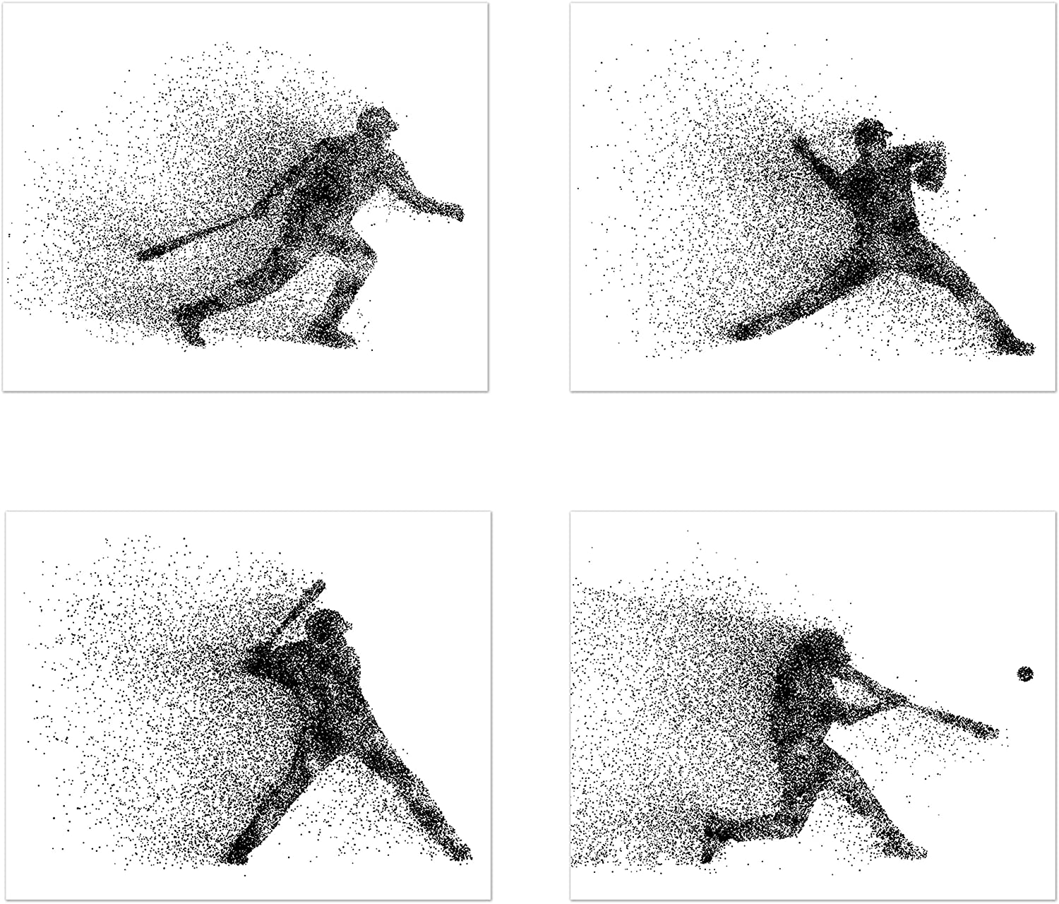 Baseball Wall Art Prints - Particle Silhouette - Set of 4 (8x10) Poster Photos - Bedroom - Man Cave Decor