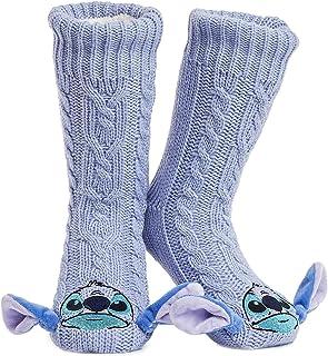 Disney Fluffy Slipper Socks For Women, Stitch Socks, Knitted Warm Fleece Lined Ladies Slipper Socks Non Slip, Bed Socks Fo...