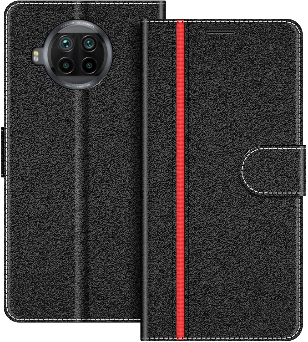 COODIO Funda Xiaomi Mi 10T Lite con Tapa, Funda Movil Xiaomi Mi 10T Lite, Funda Libro Xiaomi Mi 10T Lite Carcasa Magnético Funda para Xiaomi Mi 10T Lite, Negro/Rojo
