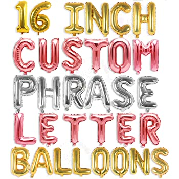 """Letter Balloons - Custom Phrase 16"""" Inch Alphabet Letters & Numbers Foil Mylar Balloon   Create Your Own Balloon Banner (Gold, Silver & Rose Gold)"""