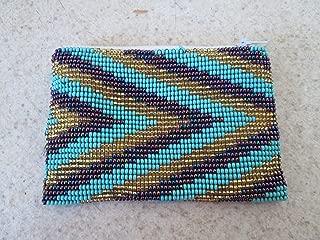 purple gold turquoise hand beaded glass seed beads Fair trade Guatemalan handmade southwest design diamond native american geometric pattern zippered coin purse credit card holder pouch bag stash