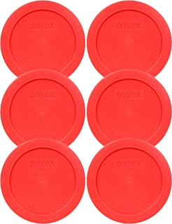 Pyrex 7200-PC Red Round 2 Cup Storage Lid for Glass Bowl (6, Red)