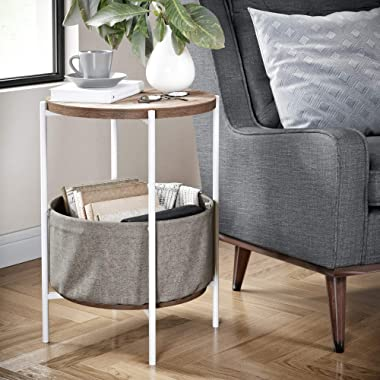 Nathan James Oraa Round Wood Nightstand, Bedside, End or Side Table with Storage, Metal Frame with Gray Fabric Basket, Light