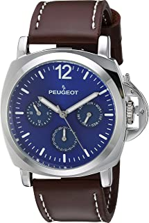 Peugeot Men's Silver Multi-Function Analog-Quartz Sport Watch with Leather Calfskin Strap, Brown, 24 (Model: 2056SBL)