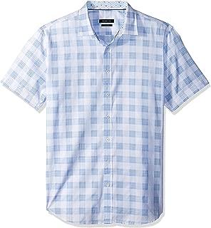 Bugatchi Men's Slim Fit Soft Finished Cotton Short Sleeve Shirt