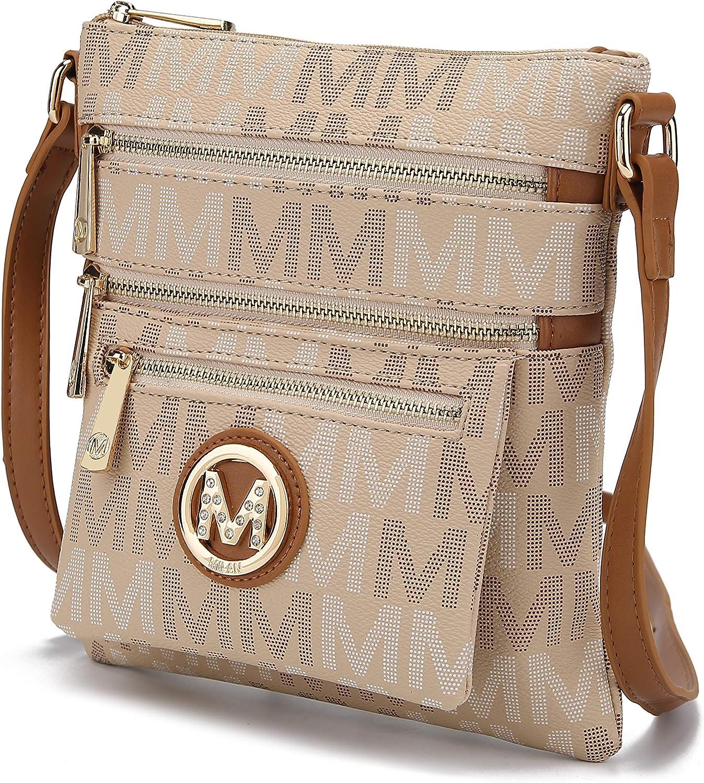 MKF Collection Crossbody Bag for Women – PU Leather Adjustable Strap Handbag – Side Messenger Purse, Shoulder Crossover
