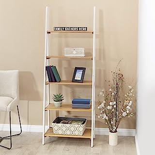 OSP Home Furnishings Medford Ladder Bookcase, Distressed White