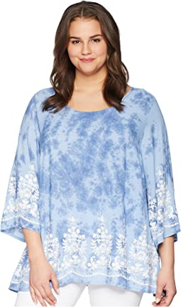 Plus Size Embroidered 3/4 Sleeve Top