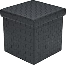 Poly and Bark Preston Leather Cube Storage Ottoman, Black