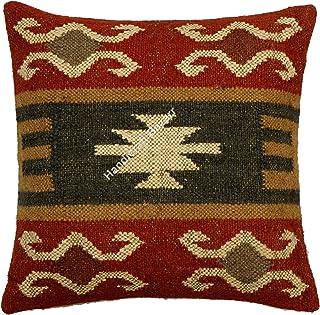 Handicraft Bazarr 18 - Funda de cojín de lana marroquí de yute, diseño hippie tradicional de yute, funda de almohada para sofá, funda de almohada Kilim de lana rústica de yute (color rojo)