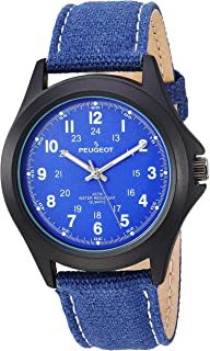 ساعة بيجو افياتور زرقاء كوارتز للنساء بسوار من الجلد، 20 موديل (2055BL)
