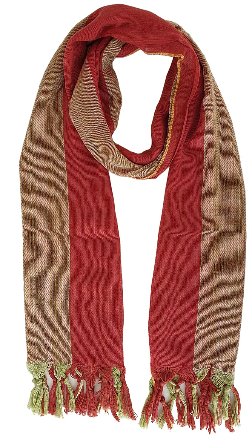Tan Lowest price challenge Be super welcome Red Striped Cotton Woven Scarf Tassel Green Lig Fringed Sage