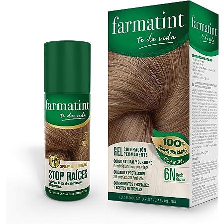 Pack Farmatint - Tinte 6N Rubio Oscuro + Stop Raíces Rubio Oscuro - Color natural y duradero - Componentes vegetales y aceites naturales - Sin ...