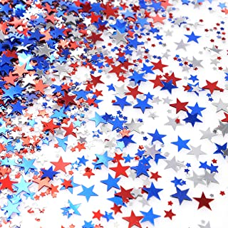 Red Blue White Twinkle Stars Table Confetti 4th of July Independence National Day American Theme Presidents Birthday Patriotic Party Foil Sequins Sprinkles Confetti Decorations, 60g