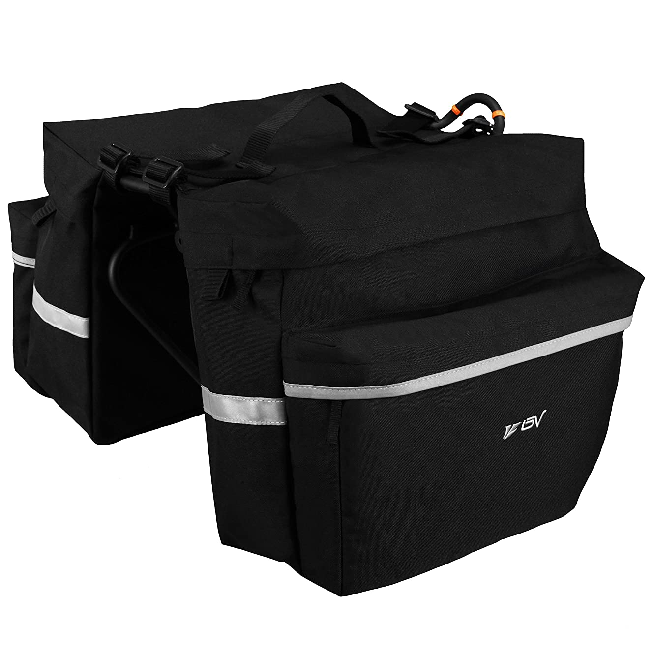 BV Bike Bag Bicycle Panniers with Adjustable Hooks, Carrying Handle, Reflective Trim and Large Pockets