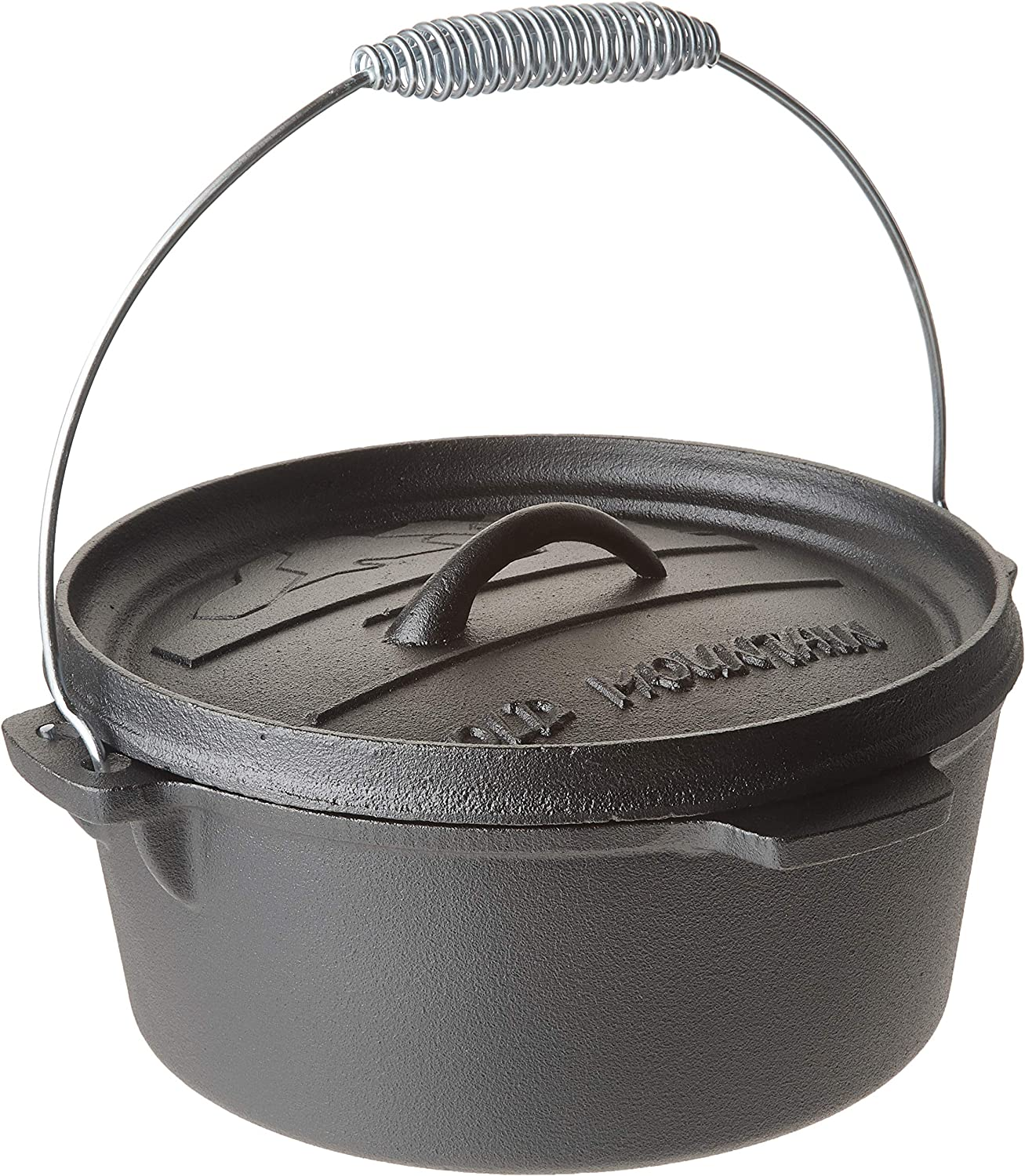 Old Mountain 10176 Pre Seasoned 4-Quart Dutch Oven with Flanged Lid, No Feet