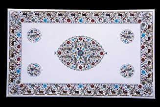 Handicraft Store White Marble Table Top with Inlaid for Home Decor, Office Table, Conference Table, Patio Table and Dining...