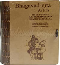 """Wooden Bhagavad Gita Storage Box Small with Shri Krishna Blowing Conch Engraved/Dimensions: 7.75"""" x 9"""" x 2.5"""" (in inches)-..."""