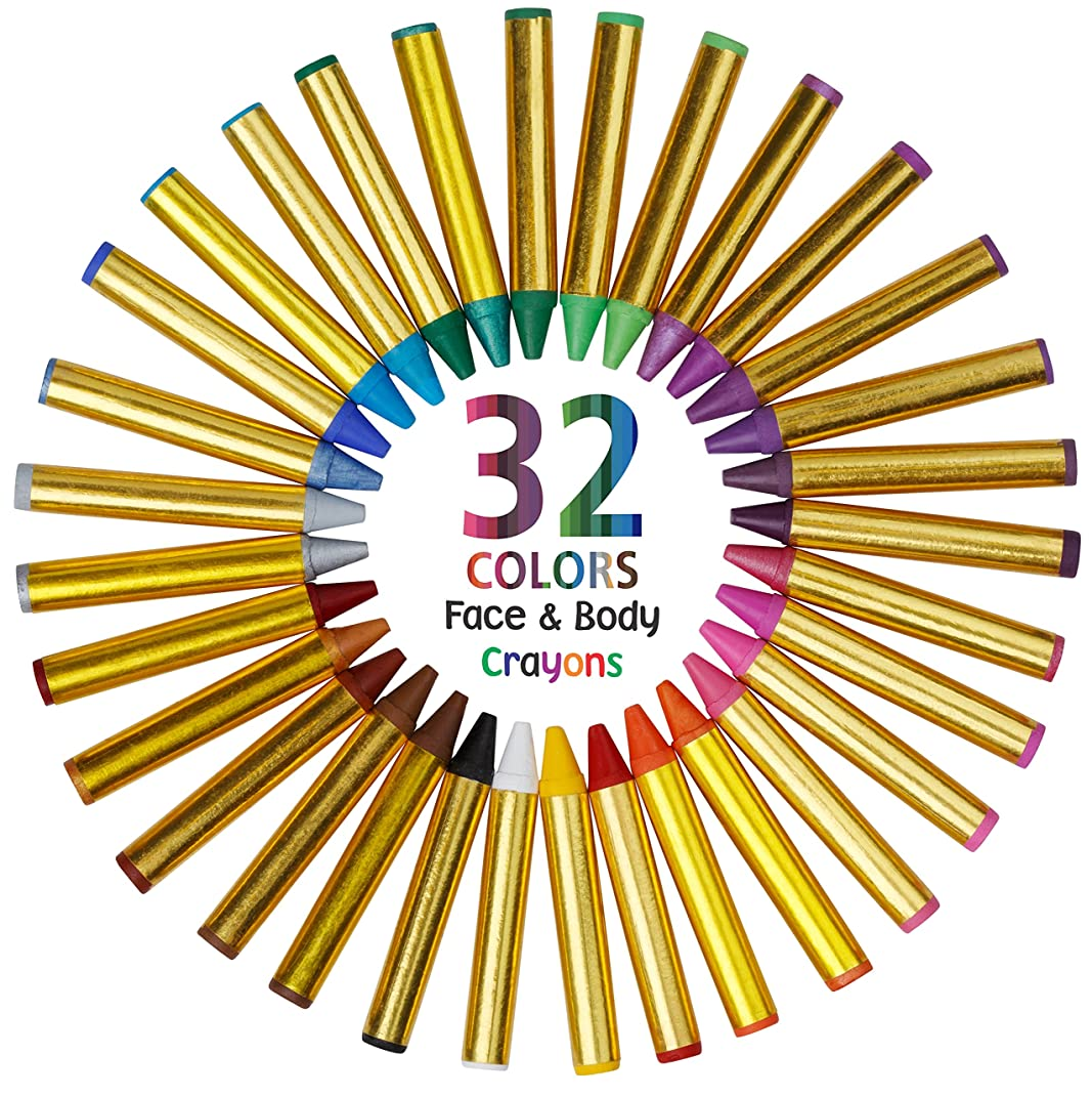 Dress Up America Fun Stix 32 Color Safe & Non-Toxic Face and Body Paint Crayons Mega Pack - Includes Neon Colors