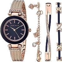 Anne Klein Women's Swarovski Crystal Accented Textured Bangle Watch and Bracelet Set