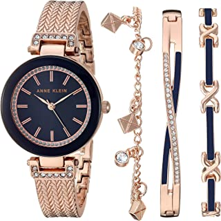 Anne Klein Women's Swarovski Crystal Accented Textured Bangle Watch and Bracelet Set, AK/3394