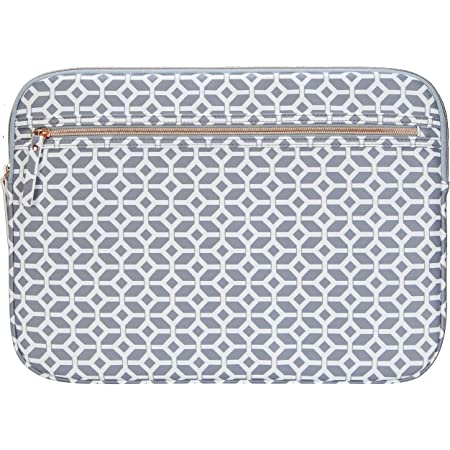 Targus Arts Edition Slim Protective Sleeve for 15.6-Inch Laptop Case with Zippered Pocket, Soft Shell Smooth Material, Geometric Shape Design, Gray/White (TSS99905GL)