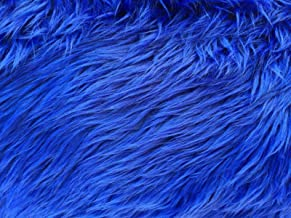 Royal Blue Luxury Long Pile Faux Shag Fur Fabric - Sold By The Yard - 60