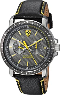 Ferrari Men's Turbo Stainless Steel Quartz Watch with Leather Strap, Black, 22 (Model: 830450)