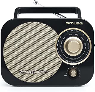 retro radio schwarz Muse M-055 RB Tragbares 2 Band-Radio FM/MW, Vintage Stil, Tragegriff, Teleskopantenne schwarz