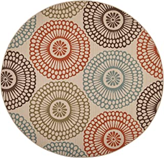 """Great Deal Furniture Dahlia Outdoor 7'10"""" Round Medallion Area Rug, Ivory and Multi"""